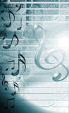 Blue Musical Background. Wit notes and music symbols Royalty Free Stock Images