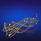 Blue musical background with gold notes and treble clef. Blue square musical background with gold notes and treble clef raster illustration Royalty Free Stock Photography