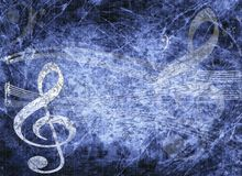 Blue musical background in grunge style Stock Images