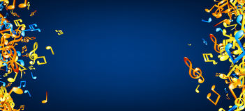 Blue musical background with notes. Royalty Free Stock Image