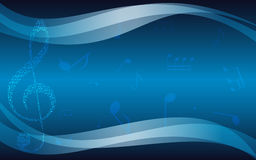 Blue musical background with treble clef - flyer Royalty Free Stock Photography
