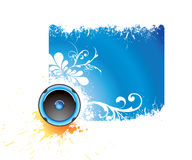 Blue musical banner Stock Images