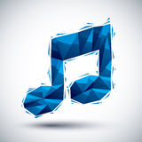Blue musical note geometric icon, 3d modern style Royalty Free Stock Photo