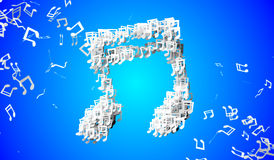 Blue Musical Note Particles 3D Stock Photography