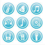 Blue musical tools signs Stock Photography