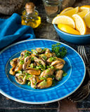 Blue Mussel Salad. A delicious blue mussel salad with parsley, green onion, olive oil, white wine, and lemon Stock Photography