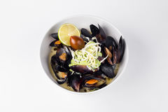 Blue mussels in a creamy sauce with lemon and olive in white bow. L deliciously Royalty Free Stock Photos