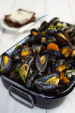 Blue mussels with pumpernickel bread. Royalty Free Stock Photography