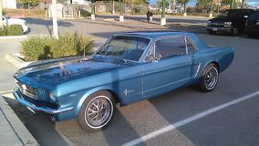 Blue Mustang. An amazing blue mustang in the streets of Mar Vista Royalty Free Stock Photography
