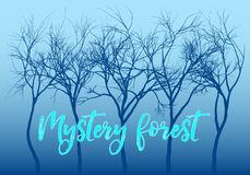 Blue mystery forest, vector trees vector illustration
