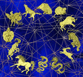 Blue mystic background with chart of zodiac animals2 Stock Photography