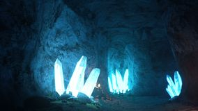Blue mystical cave with the magic of sparkling crystals.