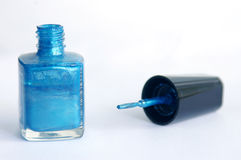 Blue nail polish. Nail polish stock images