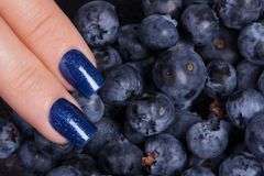 Blue nail polish. Stock Images
