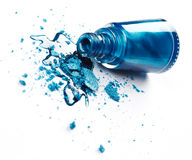 Blue nail polish with crushed eye shadow Royalty Free Stock Images