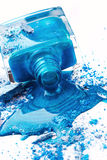 Blue nail polish with eye shadow Stock Images