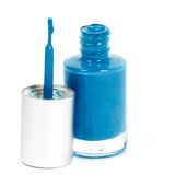Blue nail polish on white Royalty Free Stock Image