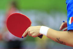Blue nails in table tennis Royalty Free Stock Photo