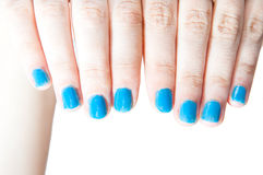 Blue nails Royalty Free Stock Image