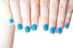 Blue nails Royalty Free Stock Image