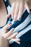 Blue nails Royalty Free Stock Photo