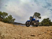 Close up view from motorbike royalty free stock photo