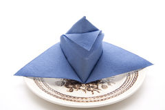 Blue napkin folded Stock Photography