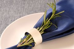 Blue napkin with a sprig of rosemary Stock Photography