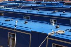 Blue narrow boats Stock Photo