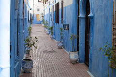 Blue narrow streets of the medina of Asilah in northern Morocco Stock Image