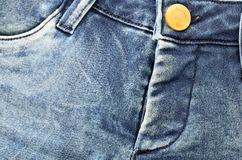 Blue natural denim  hot pants jeans Stock Image