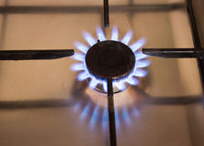 Blue natural gas flames Royalty Free Stock Images