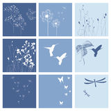 Blue nature backgrounds. Backgrounds with nature theme in blue color Stock Photos