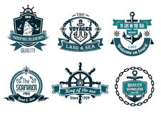 Blue nautical and sailing themed banners or icons royalty free stock image