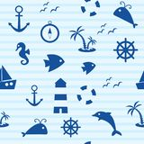 Nautical seamless pattern, vector illustration royalty free illustration