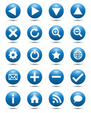 Blue Navigation Web Icons Royalty Free Stock Photography