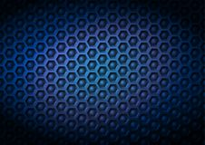 Blue navy geometrical industriral corporate vector pattern background made of embossed hexagon and ball elements in 3D effect with. Vignette lighting Stock Image