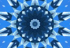 Blue navy kaleidoscope pattern abstract background. Circle pattern. Abstract fractal kaleidoscope background. Abstract fractal pat Stock Image