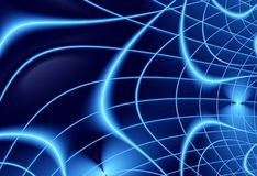 Blue navy modern abstract fractal art. Trendy background illustration. With power waves forming a grid. Creative graphic template. Professional business style Royalty Free Stock Photos
