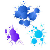 Blue, navy, purple watercolor paint drops Royalty Free Stock Photo