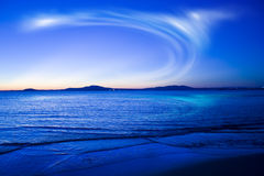 Blue nebula. The nebula in the sky over the sea Stock Images