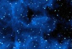 Blue nebula stars. Night sky with blue nebula and stars stock illustration