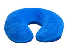 Blue  neck pillow,. Isolated on a white background Stock Image