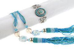 Blue necklace with bracelets Stock Photos