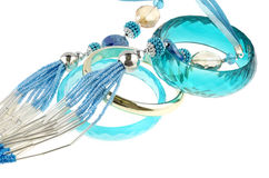Blue necklace with bracelets Stock Image