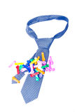 Blue necktie with balloon Stock Photos