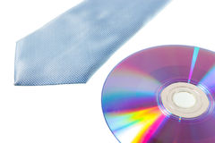 Blue necktie and CD-Rom Stock Images