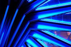 Blue Neon. The blue neon in this staircase design creates an interesting abstract Royalty Free Stock Photography