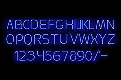 Blue neon alphabet. Vector illustration. Glowing ABC. Fluorescent letters with highlights for dark backgrounds vector illustration