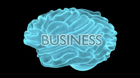 Blue neon brain on black background - business Royalty Free Stock Photos